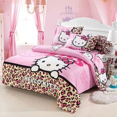 20 Best Of Hello Kitty Bedroom Set . Home Textile Hello Kitty Pattern Bedding Set Hello Kitty Lit, Hello Kitty Bedroom Set, Cat Bedroom, Bedroom Setup, Dream Bedroom, Cotton Bedding Sets, Duvet Bedding Sets, Bed Duvet Covers, Duvet Cover Sets