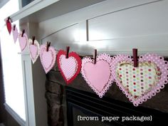 Adorable heart garland, and it has a bonus of a countdown to Valentine's Day on the back of the hearts.