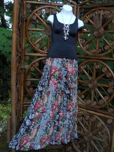 Romantic floral broomstick skirt in rose and by LamplightGifts, $18.00