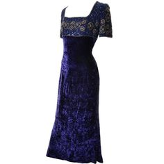Escada Couture Vintage Crushed Velvet Dress Beading Sequins Evening Gown 40 For Sale