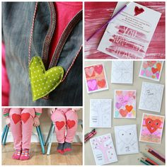 A collection of adorable heart shaped Valentines crafts for kids