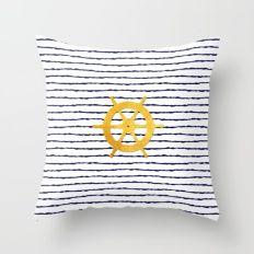 Marine pattern- Navy blue white striped with golden wheel Throw Pillow