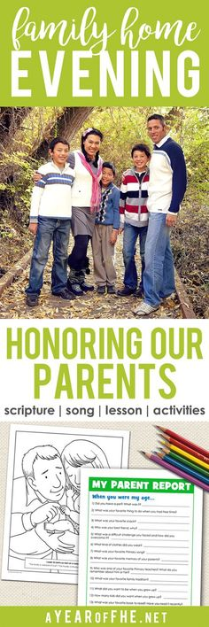 A Year of FHE // a Family Home Evening lesson plan that teaches young children the importance of honoring their parents. Includes a coloring page for small children and an activity for older children. This is SUCH a great lesson! #lds #fhe #parents