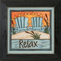 """ST305104 - Relax - - Everyday Series - Kit Includes: Beads, 16ct Aida, floss, needles, chart and instructions.  Mill Hill frame GBFRM21 Sold separately. Size: 7"""" x 7"""""""