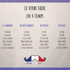 Aujourd'hui on voit le verbe faire à tous les temps principaux. --------- Hoy vemos el verbo faire en todos los tiempos principales. --------- Today we see the verb faire at the main verbal times. --------- #Français #Francés #French #FLE #DELF #ILoveFrench #JaimeLeFrançais #Paris #France #FrancesOnline #Hablarfrances #SpeakFrench #Parlerfrançais #Aprenderfrances #Learnfrench #Apprendrelefrançais #FrenchVocabulary #VocabulaireFrançais French Verbs, French Grammar, French Phrases, French Quotes, French Language Lessons, French Language Learning, French Lessons, French Worksheets, French Education