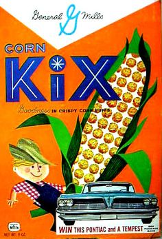 Sure all the kids selected the box of KiX cereal with it's beckoning ear of corn and farmer on the box… Vintage Packaging, Food Packaging, Product Packaging, Retro Recipes, Vintage Recipes, Vintage Advertisements, Vintage Ads, Vintage Food, Retro Ads