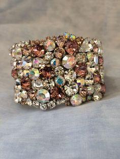 Blush Swarovski Crystal Bridal Cuff - wedding bracelet, wedding jewelry, blush wedding, Crystal cuff