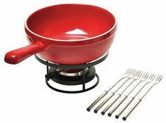 Features:  -Set comes with the pot, burner, stand and 6 forks.  -Makes delicious…