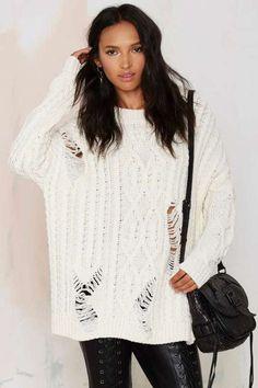 JOA J.O.A. Holed Up Distressed Cable Sweater