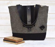 Amy Vintage Wool Tote bag / French Shoulder Bag /Black
