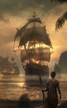 Pirate Art, Pirate Life, Pirate Ship Tattoos, Arte Assassins Creed, Bateau Pirate, Old Sailing Ships, Ship Paintings, Fantasy Places, Nautical Art