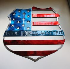 'Blue Lives Matter--Red White & Blue Metal Wall Art x