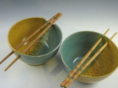 Ceramic / Stoneware Noodle Bowls Set of Two  Speckle by JNpottery