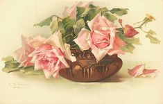 Roses in brown vase