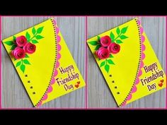 Beautiful handmade friendship day card / How to make friendship day greeting card - Ecraftspro Teachers Day Greeting Card, Mother's Day Greeting Cards, Greeting Cards Handmade, Friendship Day Cards, Friendship Day Greetings, How To Make Greetings, Beautiful Handmade Cards, Handmade Birthday Cards, Flower Cards