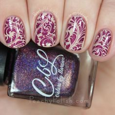 Elegant Oriental Swirl Stamping ~ using stamping plate UberChic 1-03 and CBL 'Berries in the Snow' over base Polish My Life 'The Alps' ~ Peachy Polish