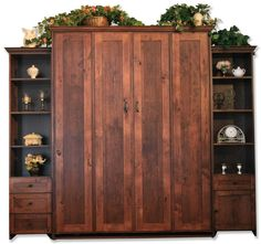 Queen size Remington Murphy Bed in Knotty Alder Wood