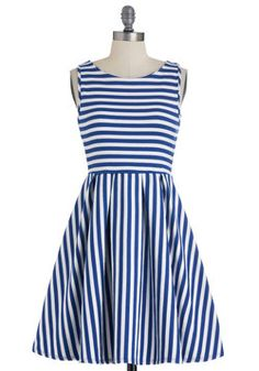 WITH A RED BELT!!!  AND RED SHOES!! LOVE LOVE LOVE!!!!!!Whats the Lineup? Dress in Cobalt, #ModCloth