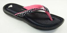 Adidas Flip Flop Thong Sandals FitFOAM Footbed Women Black/Pink/White Polka Dot