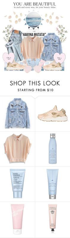 """Beautiful Sunset"" by deserii ❤ liked on Polyvore featuring NIKE, Chicwish, Drybar, Estée Lauder, Saturday Skin and Bobbi Brown Cosmetics"