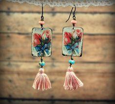 Vintage Tin Earrings with Pink Tassels Bohemian by PrimitiveFringe