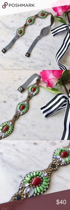 NWOT Anthropologie Beaded Belt 🚨SALE EXTENDED🚨: Bundle 2+ items and get an automatic ✨25% Off!✨ Offers also welcome!  Brand new without tags, this intricate beaded and embellished belt from Anthropologie was handmade in India and features bold red stones accented by green beading and gold, black and clear crystals. The backing is suede, and the belt closes via an elastic section with a snap closure. Anthropologie Accessories Belts