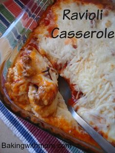 Easy Ravioli Casserole-cheeses, ravioli, sauce this feed the fam casserole is a perfect addition to your menu plan.