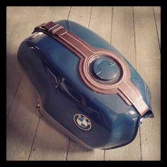 A tank bib for a custom BMW.  #handsewn #handmade #leathercraft #leather #bmw #motorbike #tankstrap #tankbib