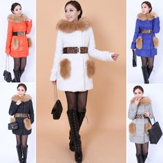 Discount winter long design slim plus size fur collar women's down jacket with belt in women down parkas on sightface.com