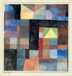 Paul Klee (1879-1940) Espace architecturale avec pyramide jaune, chaud-froid. - Space architecture with the yellow pyramid, hot - cold (Raumarchitektur mit der gelben Pyramide, kalt - warm), 1915 - facebook