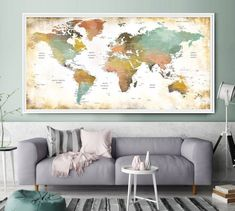 Abstract Art Print Abstract wall art World Map Wall Art - Modern Wall Art Large Wall Art Nursery Wall Art Watercolor World Map Print (L193)