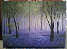 Donna's Bluebell Woods oil painting 12 x 16