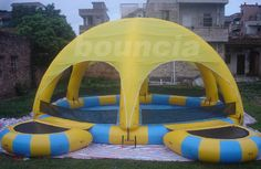 Orange Outdoor Inflatable Water Pool IP38 with Tent Cover and Trampoline - good quality Inflatable Water Pool products