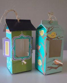 Beautiful Milk & Juice Cartons Into Bird Feeders #birdfeederdiy #cardboard…