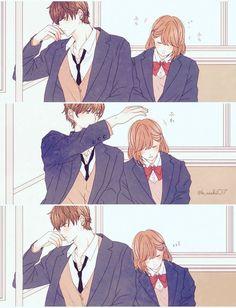 Cute Couple Comics, Couples Comics, Cute Couple Art, Cute Comics, Cute Couple Drawings, Anime Couples Drawings, Anime Couples Manga, Anime Girls, Anime Cupples
