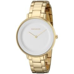 Skagen Ditte Gold Link Watch (290 RON) ❤ liked on Polyvore featuring jewelry, watches, party jewelry, gold jewelry, skagen watches, skagen wrist watch and gold wrist watch