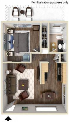 New Apartment Studio Layout Floor Plans Spaces Ideas Small Apartment Plans, Studio Apartment Floor Plans, Studio Apartment Layout, Studio Layout, Apartment Design, Small Apartments, Studio Floor Plans, Sims House Plans, Small House Plans