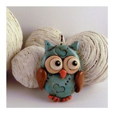 Cute Handmade Blue Polymer Clay Owl Pendant por MMNDesigns en Etsy, €12.00