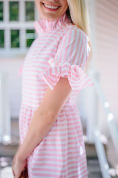 How to elevate a stripe dress with feminine bow details // Rhyme & Reason Preppy Girl, Preppy Style, My Style, White Ruffle Dress, Stripe Dress, Pink And White Stripes, Spring Summer Fashion, Summer Outfits, Casual Outfits