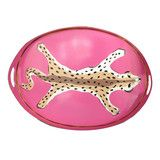 Hand Painted Pink Leopard Tray