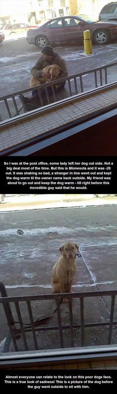 """Faith in humanity restored. Not for that dogs owner, but for the random stranger that cared about the #dog in the freezing temps."""