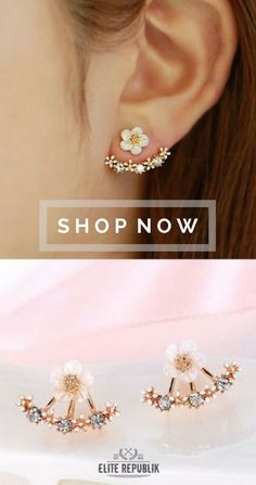 Whether headed to a fancy party, attending a special event or simply meeting up with your crew, all you have to do is slip on these trendy ear jackets to set your look ablaze! Cute Jewelry, Bridal Jewelry, Jewelry Accessories, Fashion Accessories, Jewelry Design, Fancy Party, Flower Earrings, Flower Jewelry, Things To Buy