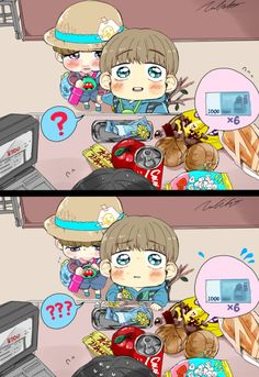 Vmin p. 3 --> Look at Jiminie looking nervously into his little purse so cuuute XD
