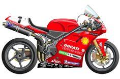 Fue el primer proyecto de Preziosi en Ducati Corse, hacer la versión de carreras de la mítica 916. Carl Forgaty ganó el título en 1994 y 1995. Troy Corser en 1996.