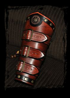 steampunk leather bracers by ~Lagueuse on deviantART, hmmmm What Is Steampunk, Steampunk Armor, Mode Steampunk, Steampunk Costume, Steampunk Clothing, Steampunk Fashion, Fashion Goth, Leather Bracers, Leather Cuffs