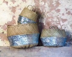 Toulouse Sequin Basket - Silver Add some sparkle with the Toulouse Sequin Basket. Each beautiful basket is handcrafted by artisans using traditional basket making techniques. Finished with a silver sequin bottom half, these baskets make a practical but p