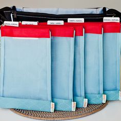 """Organize your regular bag to become a diaper bag or toddler bag with 5 """"files"""" from sugarSNAP Files."""