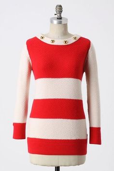 Anthropologie Tout Va Bien Pullover L, Red Striped Sweater Gold Buttons, Madchen #Madchen #BoatNeck #Work