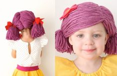 How to Make Yarn Wigs for Halloween (Knitting Yarn Wig, Hair Yarn, Sock Yarn, Clown Costume Women, Clown Wig, Doll Wigs, Doll Hair, Crochet Yarn, Knitting Yarn