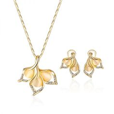 Sims 3 jewelry sets elegant gold color opal rhinestone jewelry set bright exquisite leaf necklace flower earrings #1 #gram #gold #jewelry #sets #bridal #jewelry #sets #lebanon #jewelry #set #indian #ysl #jewelry #set
